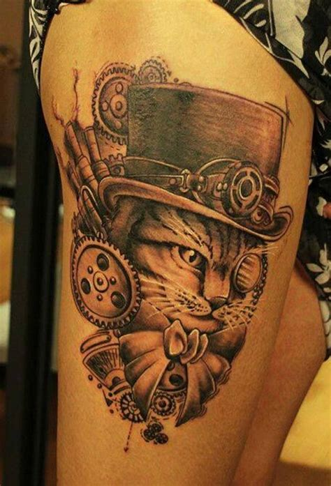 cat steampunk tattoo skull tattoos sugar tattoomagz impressive