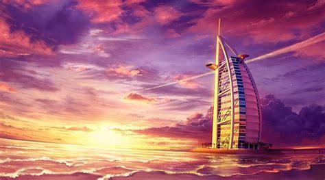 burj al arab  sunset digital paint seascape