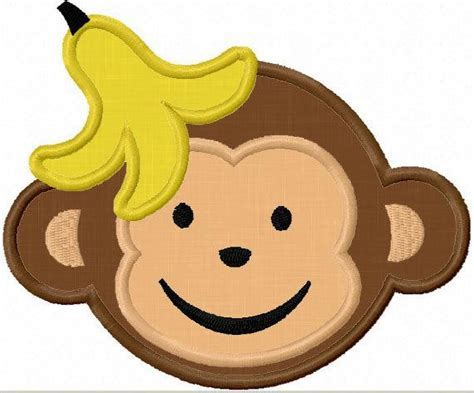 Monkey Applique by Instant Monkey Applique Machine Embroidery