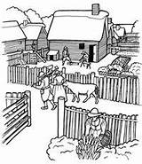 Coloring Pages Plantation Village Pilgrim Plimoth Plymouth Colony Thanksgiving Southern Adult Crafts Print Template Sketch Civil Kindergarten sketch template