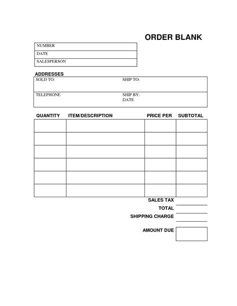 blank office forms blank work order forms