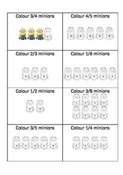 minion math fractions parts   set  brinnie