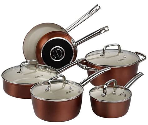 pans cookware ceramic copper piece pots nonstick finish gas pan frying oven safe amazon stove cooking stoves dishwasher glass aluminum