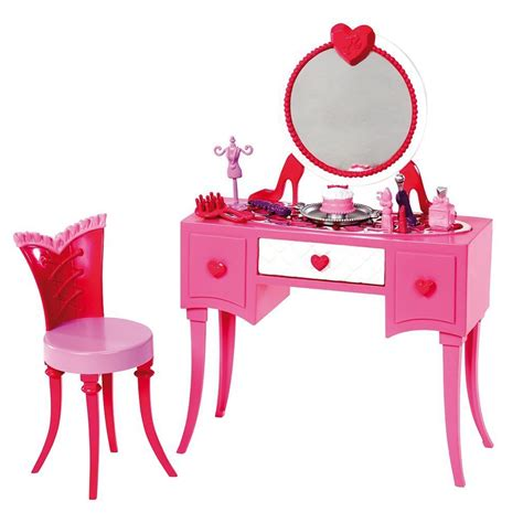 Frozen Table And Chair Set by Mattel Barbie Glam Vanity Make Up Desk Accessories Set