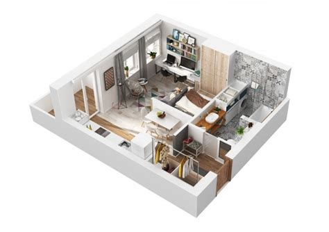 2 Beautiful Small Apartment Plans