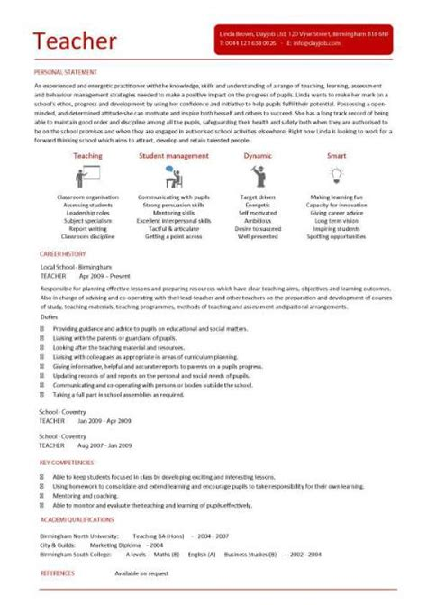 Profile Resume Exles For Teachers by Cv Template Lessons Pupils Teaching School