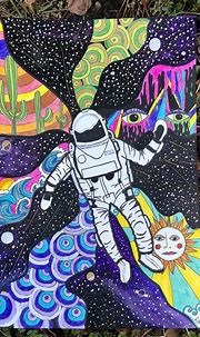 Space Odyssey- trippy illustration   Hippie painting ...