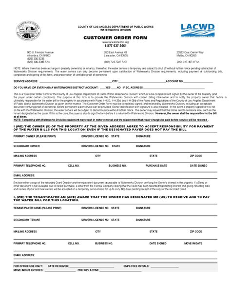 Customer Order Form  Department Of Public Works Free Download