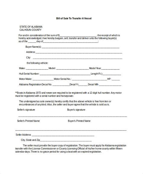 boat bill  sale  sample  format