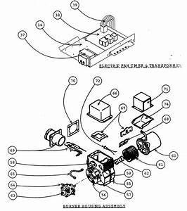 Electric Fan Timer  Transformer  Burner Housing Assy Diagram