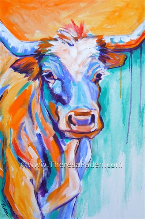 colorful cow painting paintings by theresa paden colorful abstract longhorn cow