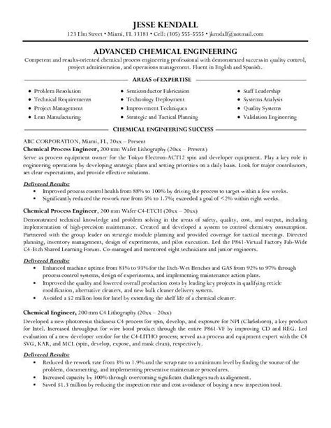 resume samples  chemical engineers chemical engineer