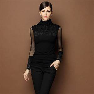 Black Sexy Turtleneck Diamond Design Perspectivity Elastic