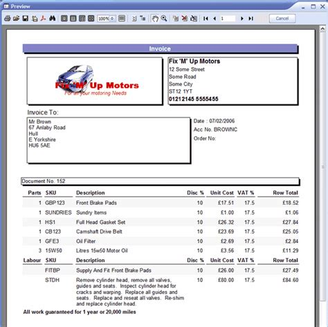 Garage Invoice Template  Invoice Example