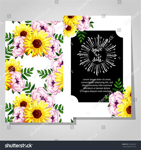 Wedding Invitation Cards Floral Elements Stock Vector