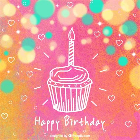 Colored Birthday Background With Hearts And Cupcake Vector