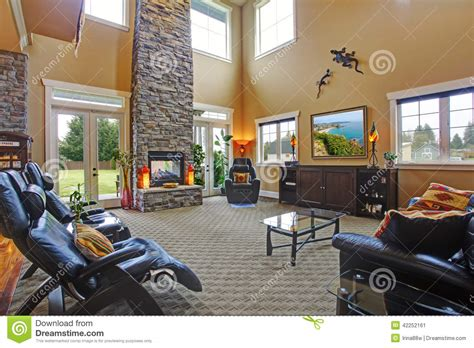 brick home floor plans luxury house interior living room with fireplace stock