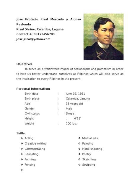 dr jose protacio rizal resume languages