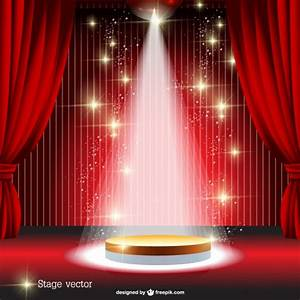Red curtain spotlight stage Vector | Free Download