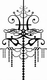 Chandelier Graphic Baroque Silhouette Bracci Lampadario Coloring Artwork Template Lampadina sketch template