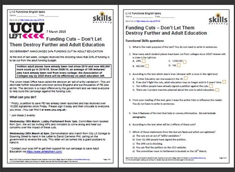 adult ed funding cuts english tasks skills workshop