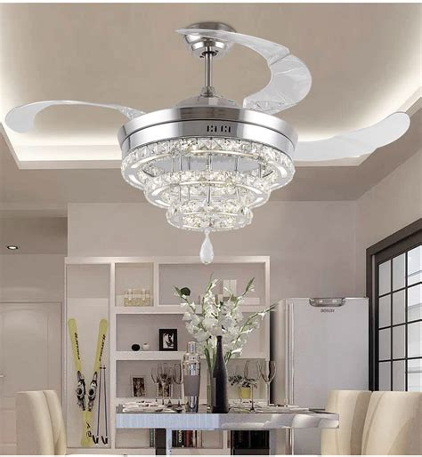 living room ceiling light fan led invisible k9 ceiling crystal fan light restaurant fans