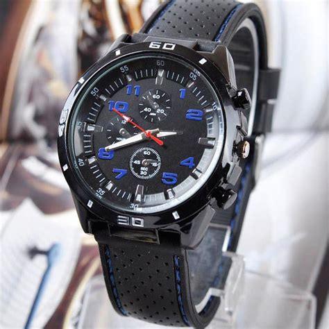 Brand New Mens Silicone Analog Sport Quartz Black Watches