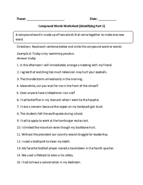compound words worksheets identifying compound words