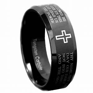 8mm Black Tungsten Carbide Christian Cross Bible Scroll
