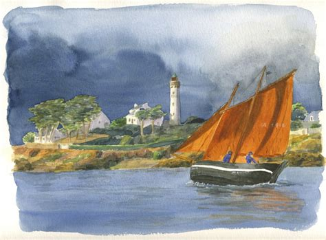 forban du bono 224 port navalo 171 aquarelle acrylique et dessin par alain d 233 chorgnat