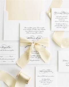 Elegant script ribbon wedding invitations ribbon wedding for Elegant wedding invitations with ribbons