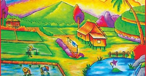 kumpulan sketsa gambar pemandangan alam pantai gunung