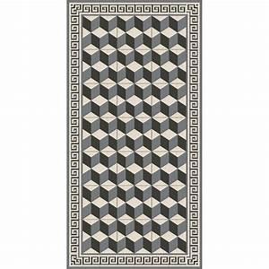 Tapis Vinyl Salon : tapis vinyle cubic noir et gris adama perlin paon paon ~ Teatrodelosmanantiales.com Idées de Décoration