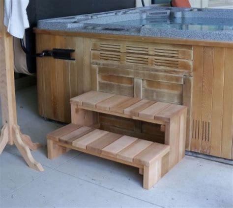 tier cedar hot tub steps log furniture