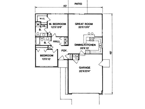 Ranch Style House Plan 2 Beds 2 Baths 1100 Sq/Ft Plan