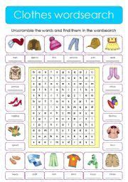 english worksheet clothes wordsearch  images esl