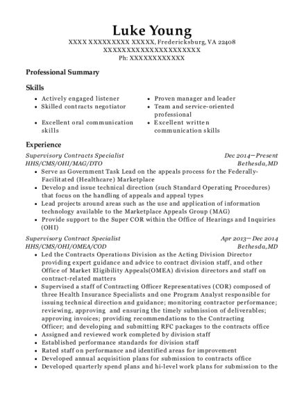 Contract Specialist Resume Exle by Hhs Supervisory Contracts Specialist Resume Sle