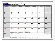 Calendar December 2018, Australia Michel Zbinden en