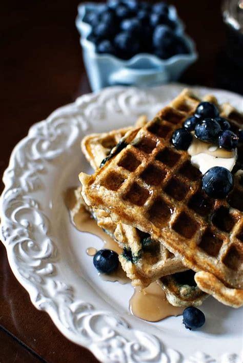 blueberry waffle sour cream waffles recipe dishmaps