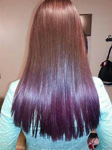 Dark brown hair dip dyed purple | hairspiration ...