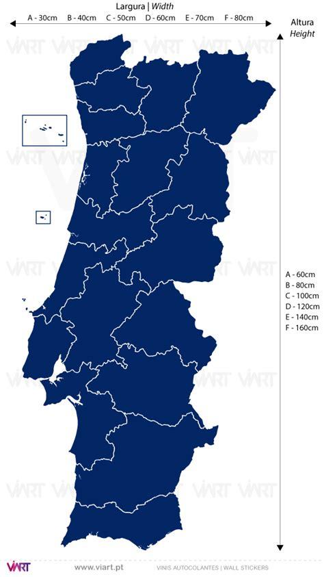 mapa de portugal  distritos vinis autocolantes