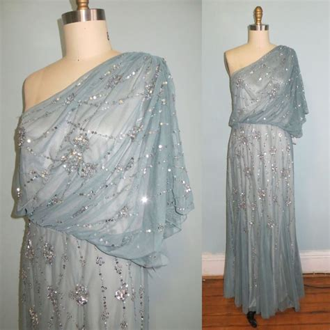 adrianna papell  shoulder long sequin beaded dusty blue