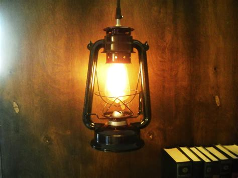 Electric Metal Lantern Black Or Red Industrial Pendant Light