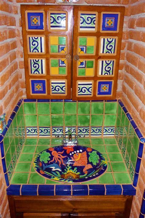 bathroom vanity using mexican tiles talavera tile