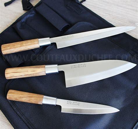 malette de couteaux de cuisine trousse style japonais 3 couteaux avec protection
