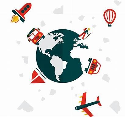 Cartoon Clipart Plane Earth Traveling Travel Globe