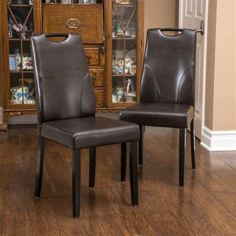 set   dining room brown leather dining chairs  handle