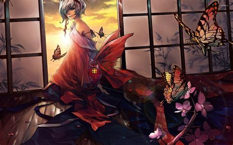 Anime Geisha Wallpaper - geisha and butterflies wallpaper anime wallpapers 32868