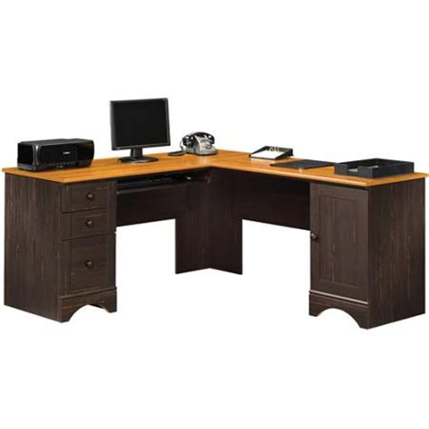sauder desks at walmart sauder harbor view corner computer desk antiqued paint