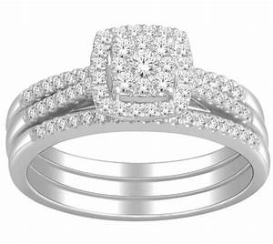 1 Carat Trio Wedding Ring Set For Her GIA Certified Round